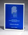 Glass Plaque with Blue Center and Mirror Border Sales Awards